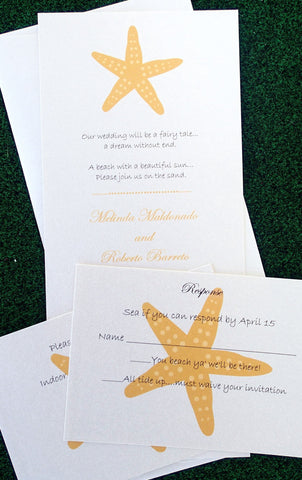 Starfish Wedding Invitation, Gold and Ivory invitation, Beach Invitation, Destination wedding , Seaside invitation