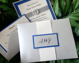 Royal Blue Wedding invitation, Elegant invitation, crystal wedding invitation, Silver invitation, Fancy invitation, modern  invitation