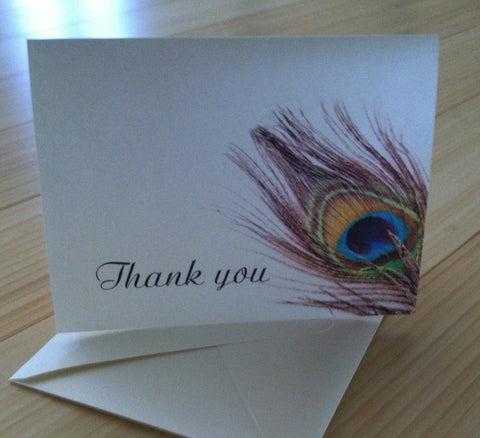 Peacock Feather Thank you Notes, Thank you card, Peacock card, personalized thank you card