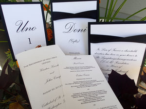 Wedding Table Seating Cards: Black & White Wedding Table Numbers, Signs, Programs and Menus