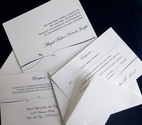 Elegant Wedding invitation, Sophisicated wedding invitation, Navy wedding invitation, White wedding invitation,