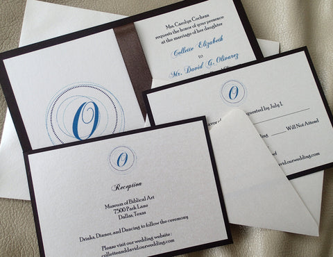 Monogram wedding invitation, Brown invitation, Blue invitation, Modern invitation, Ivory invitation