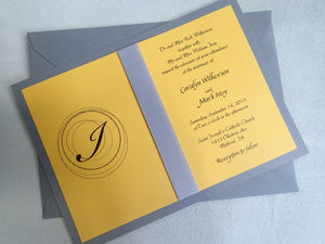 Monogram invitation, Yellow invitation, Wedding invitation, Black invitation, Grey invitation