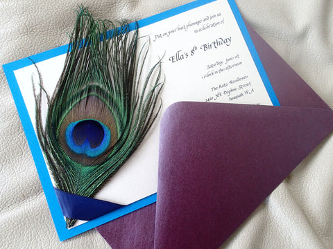 Peacock Party invitation, Peacock feather invitation, Peacock birthday party