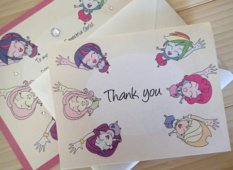 Equestria Girls Thak you note, My Little pony thank you note, Girls thank you note