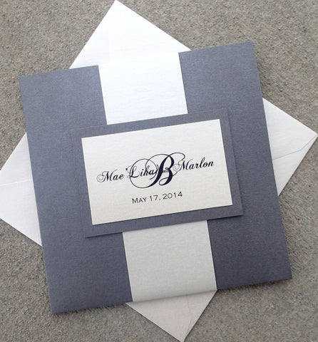 Signature Pocketfold Event Invitation Set/Suite: Charcoal Grey Pocketfold Invitation, Handmade Wedding Invite, Custom Event Invitation