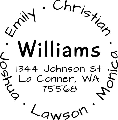 Custom return address stamp, Personalized Round Address Stamp