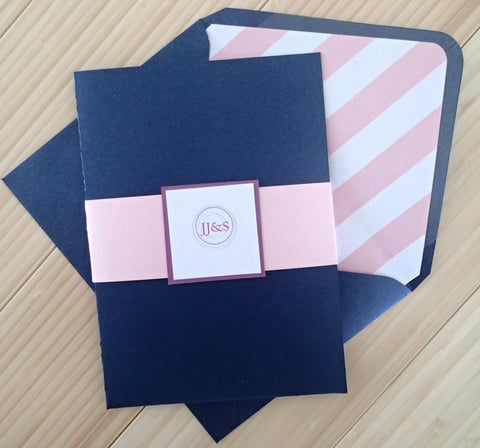Pocket fold wedding invitation. Navy, Ivory, Pink shimmer Invitation suite, Monogram Pocket fold invitation