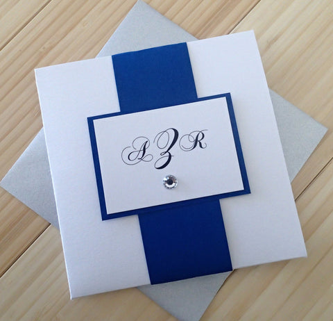 Square Pocketfold Invitation: Royal Blue & White Event Invitation, Modern Handmade Wedding Invitation, Custom Pocketfold Invite