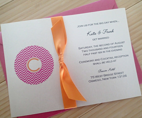 Chevron Monogram Invitation Suite
