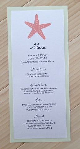 Starfish Menu