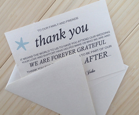 Wedding Thank you Note, Starfish thank you card. Placecard