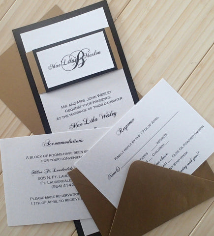 Elegant Black, gold and Ivory Wedding invitation with customized monogram tag