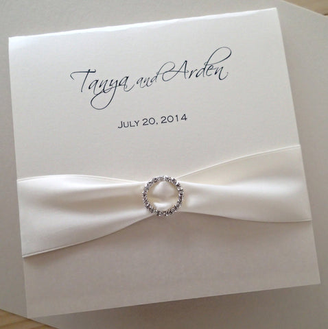 Square Elegant Rhinestone Gathered Invitation