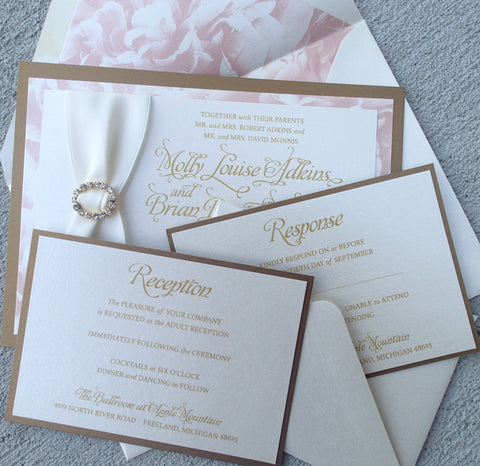 Elegant Three Layer Gold, Rose and Ivory Rhinestone invitation Suite