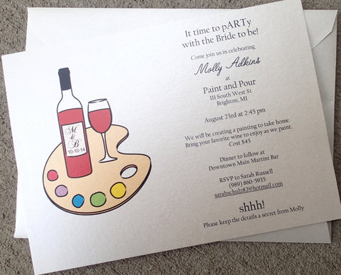 Wine Party Invitation: Drink and Paint Party Invitation, Paint and Wine Invitation, Wine Party Invite, Shower Invitation