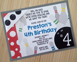 Custom Deluxe Bowling Birthday Party Invitation