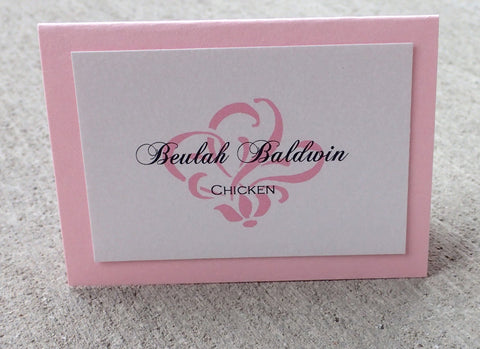 Pink Damask place card, Pink Escort Card, Ivory escort card