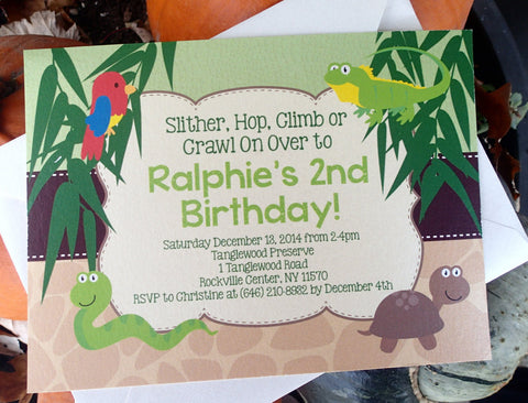Children's Birthday Invitation: Jungle/Animal/Safari Birthday Party Invite, Kids Birthday Party Invitation