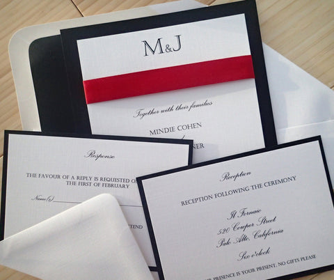 Elegant black, red and ivory custom invitation- Wedding Invitation