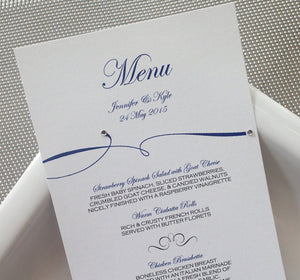 Custom Flourish Menu/ Reception Menu/Modern Wedding Menu/ Flourish Gem Menu
