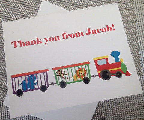 Custom Thank You Notes ( Set of 25) / Thank you Card/ Wedding Thankyou Card/ Personalized Train Thank you Note