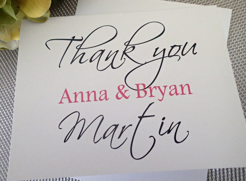 Custom Thank You Notes ( Set of 25) / Thank you Card/ Wedding Thankyou Card/ Personalized Modern Thank you Note