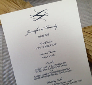Custom Dinner Menu/ Reception Menu/Modern Wedding Menu