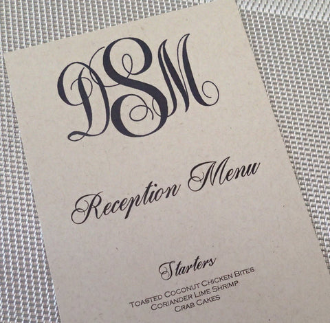 Custom Dinner (Set of50)/ Reception Menu/ModernWeding Menu/ Monogam Menu
