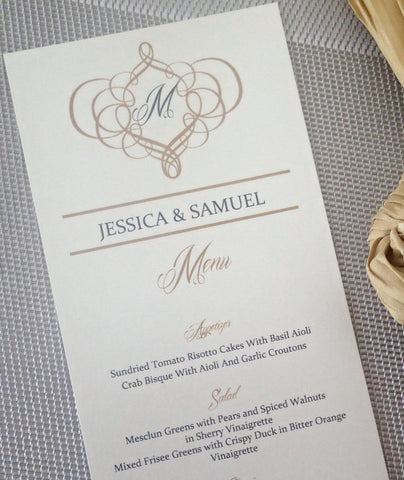 Custom Wedding Reception Dinner Menus: Modern Handmade Wedding Menu, Monogam Special Event Dinner Menu (Set of 50)