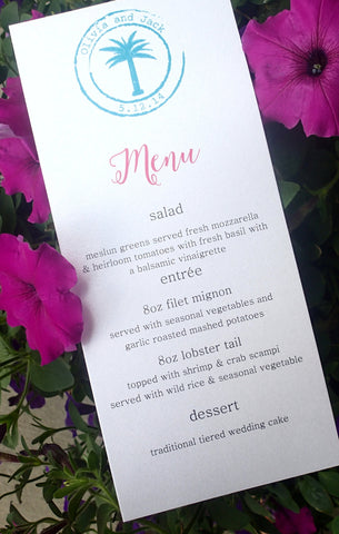 Custom Tropical(Set of50)/ Reception Menu/Palm tree Menu/Weding Menu/ Monogam Menu