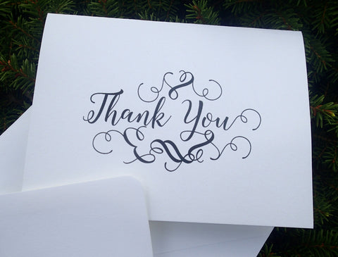 Custom Thank You Notes ( Set of 25) / Thank you Card/ Wedding Thankyou Card/ Personalized Elegant Thank you Note