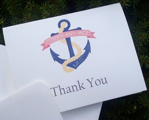 Custom Thank You Notes: Handmade Thank You Cards, Wedding Thank You Card, Personalized Nautical-Anchor Thank You Letters (Set of 25)