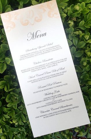 Custom Dinner (Set of50)/ Reception Menu/ModernWeding Menu/ Monogam Menu/Flourish Menu
