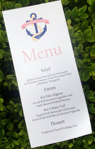 Nautical Menu, Anchor Menu, Beach Themed Menu