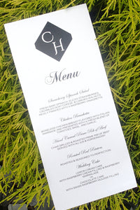 Custom Dinner Menu/ Reception Menu/ModernWeding Menu/ Black and White Menu/ Monogram Menu
