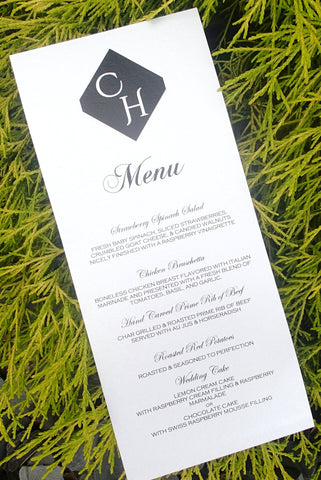 Custom Dinner (Set of 50)/ Reception Menu/ModernWeding Menu/ Black and White Menu/ Monogram Menu