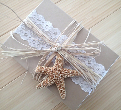 Boxed lace, pearl, and starfish Wedding Invitation