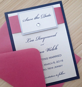 Elegant Save the Date, Navy and Fuschia Save the Date