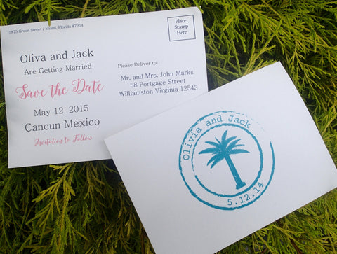 Tropical Save the Date, Desination Wedding Save the Date, Save the Date Postcard, Seaside Wedding Save the Date