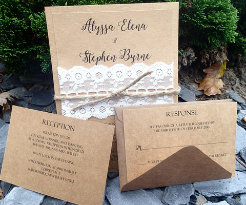 Complete Vintage Wedding Invitation Suite,Elegant Kraft and Ivory Invitation, Wedding invitation, Shower invitation, Event Invitation