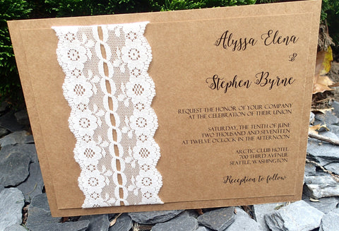 Complete Vintage Lace Wedding Invitation Suite,Elegant Kraft and Ivory Invitation, Wedding invitation, Shower invitation, Event Invitation