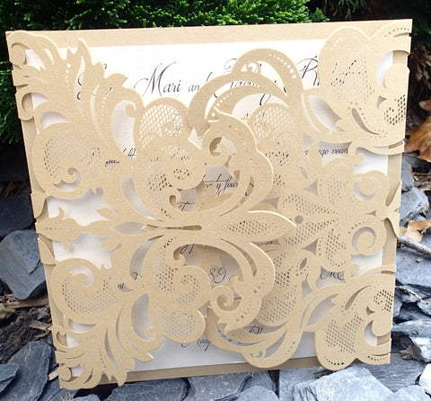 Complete Floral Laser Cut Gold Invitation Suite,Elegant Kraft and Ivory Invitation, Wedding invitation, Shower invitation, Event Invitation