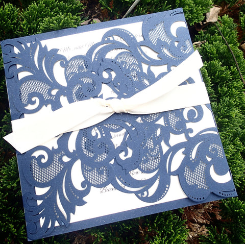 Complete Couture Navy and Ivory Invitation Suite,Elegant  Invitation, Wedding invitation, Shower invitation, Event Invitation
