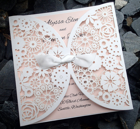 Complete Couture White and Blush Wedding Invitation Suite, Wedding invitation, Shower invitation, Event Invitation