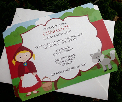 Little Red Riding Hood Invitations, Birthday Party Invitations, Childs Party Invitation, Themed Party Invitations