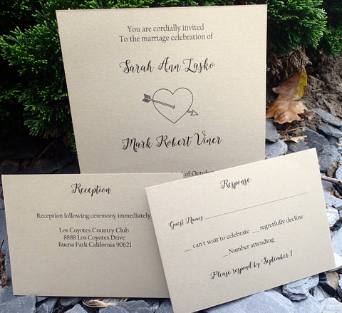 Complete Rustic themed Invitation, Heart and arrow Invitation Set