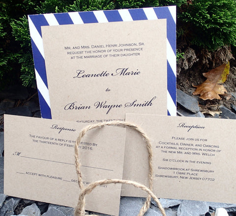 Complete  Invitation Suite,Elegant Kraft and Navy Invitation, Wedding invitation, Shower invitation, Event Invitation