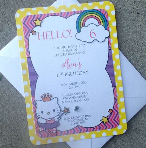 Hello Kitty Invitation, Birthday Party Invitations, Childs Party Invitation, Themed Party Invitations