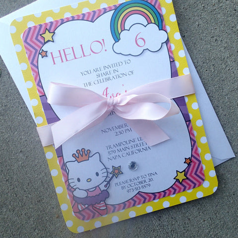 Lux Hello Kitty Invitation, Birthday Party Invitations, Childs Party Invitation, Themed Party Invitations